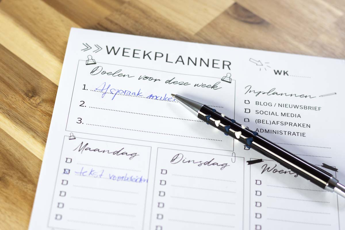 Weekplanner met pen